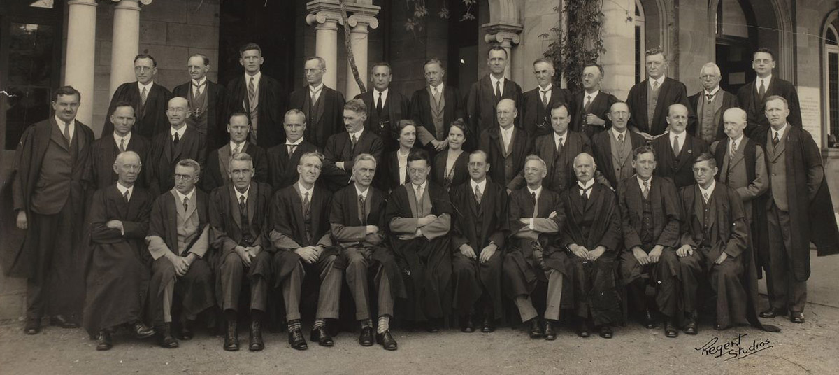 University of Queensland Geology staff in 1927. WH Bryan MC is fourth from left, centre row.